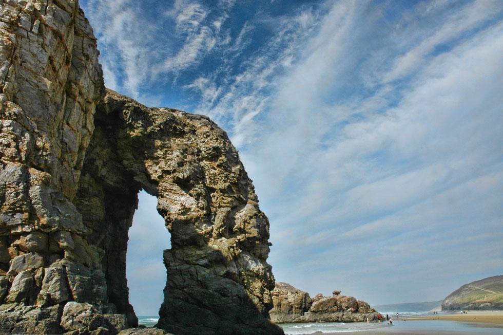 Rock Arch on Perranporth Beach