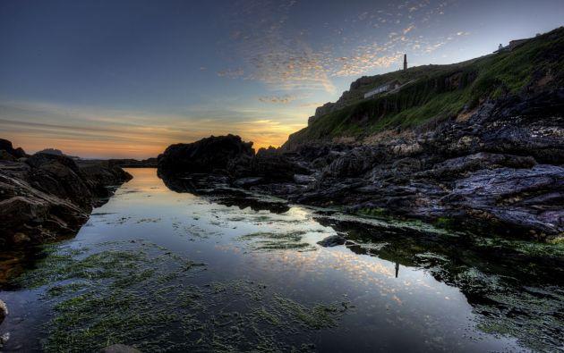 Cape Cornwall tidal pool at sunset