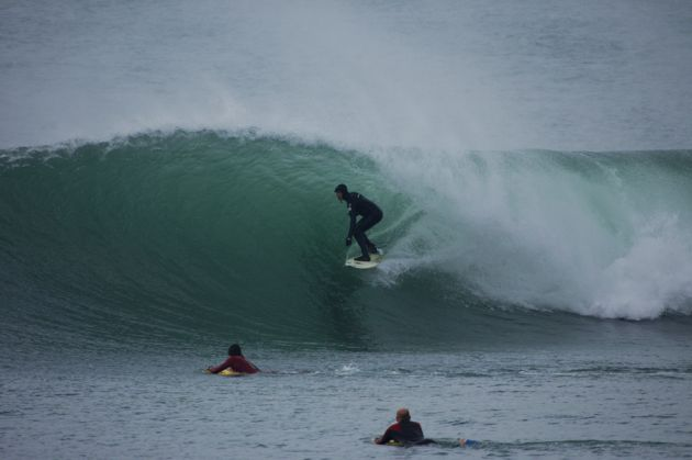 Porthleven Surfer Gets a Barrel