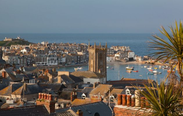 St Ives harbour over the rooftops
