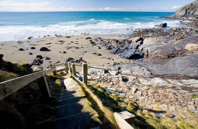 Steps down to Tregardock Beach