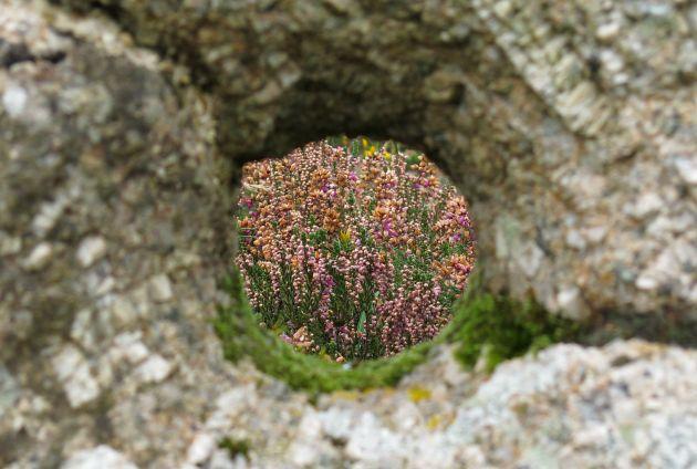 View through Kenidjack / Tregeseal holed stone