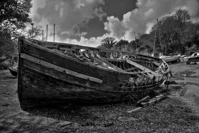 Boat hulk on a Helford creek
