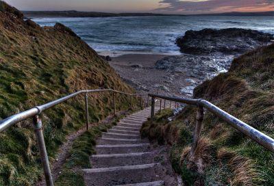 Steps at far end of Godrevy