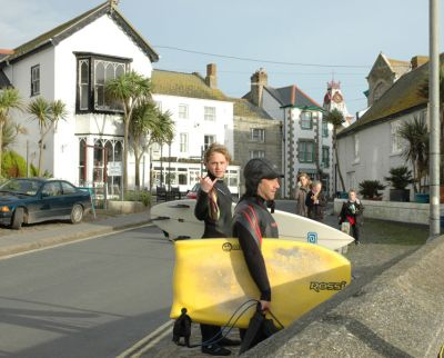 Surf Action in Downtown Marazion