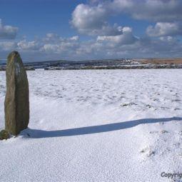 Men Scrytha, Near Penzance, on a Snowy Morning