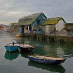 Mevagissey Harbour - Oil Painting - Manipulated