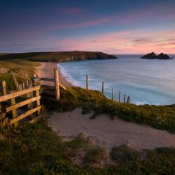 Holywell Bay at dusk