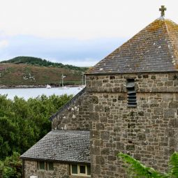 View out over Bryher church