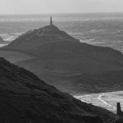 Cape Corwall from Kenidjack - Black and White