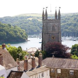 Fowey, Church and river view