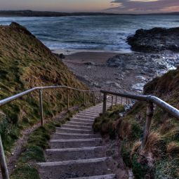 Steps at far end of Godrevy