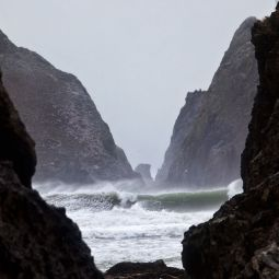 Storm at Holywell Bay