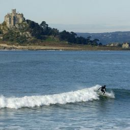 Surfing in front of St Michael's Mount