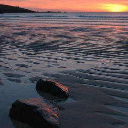 Rocks on Beach at Porthmeor - Sunset