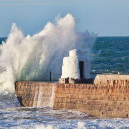 Splash over Portreath Pier