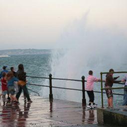 Dodging Waves - Penzance Promenade