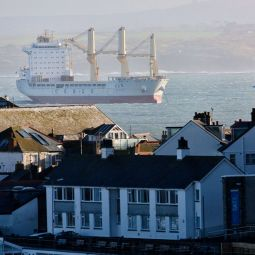 Huge container ship off St Ives