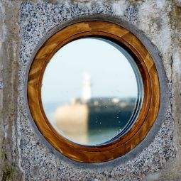 St Ives porthole reflection