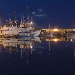 Penzance wet dock moonlight
