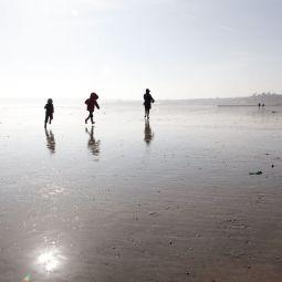 Winter beach fun