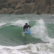Body boarder inside at Gwenver