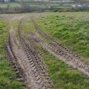 Tyre tracks towards Carn Brea