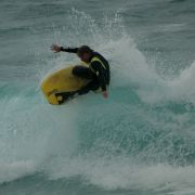 Juan hitting the lip at Gwenver