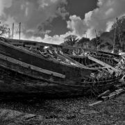 Boat hulk on a Helford creek