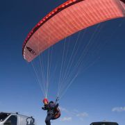 Paraglider takes off from Gwenva car park