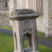 Stone in front of St Petroc's Church