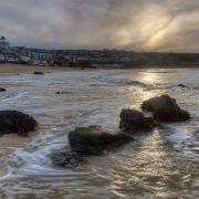 Moody evening sky over Porthmeor beach