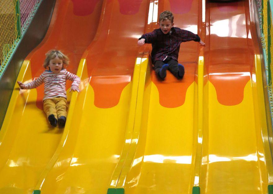 Slides at Jungle Barn