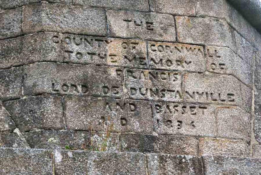 Inscription on Basset monument at Carn Brea