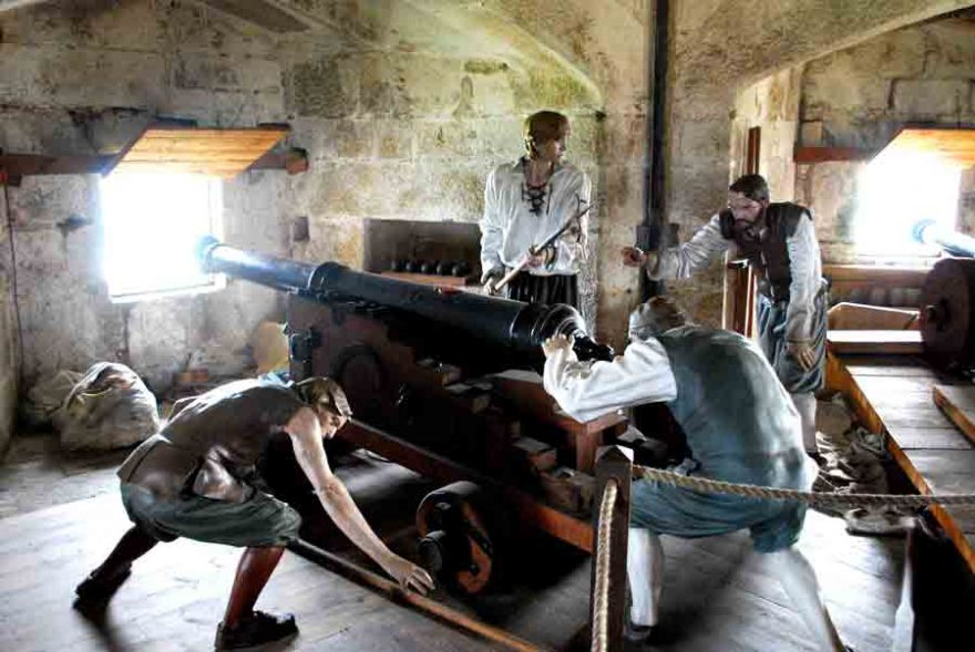 Maning the guns at Pendennis Castle