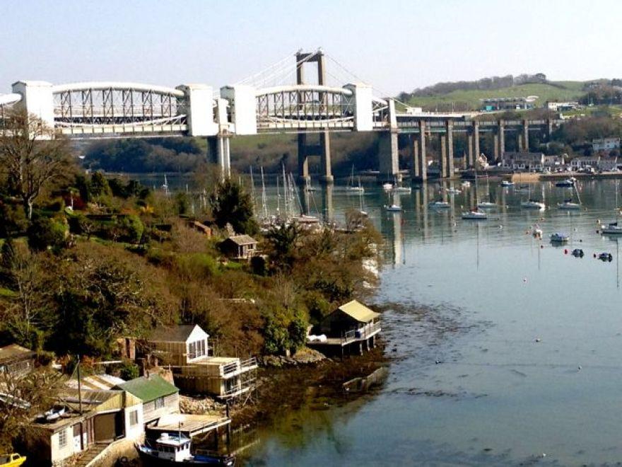 Tamar Bridge from train at Saltash