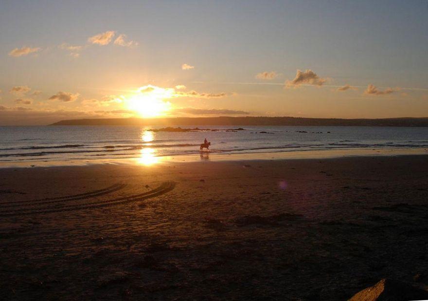 Sunset Stroll on Marazion Beach