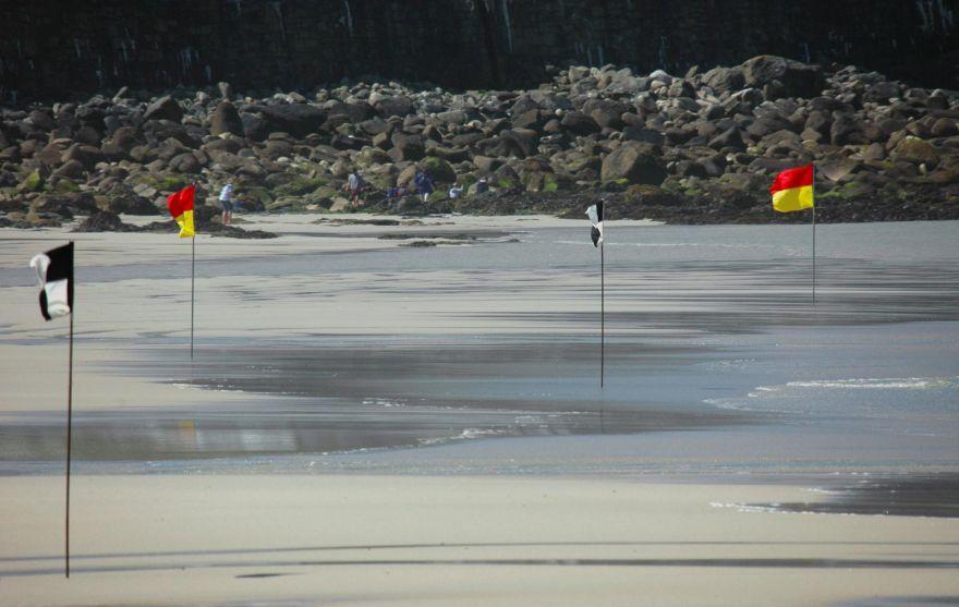 Lifeguard Flags on Sennen Beach