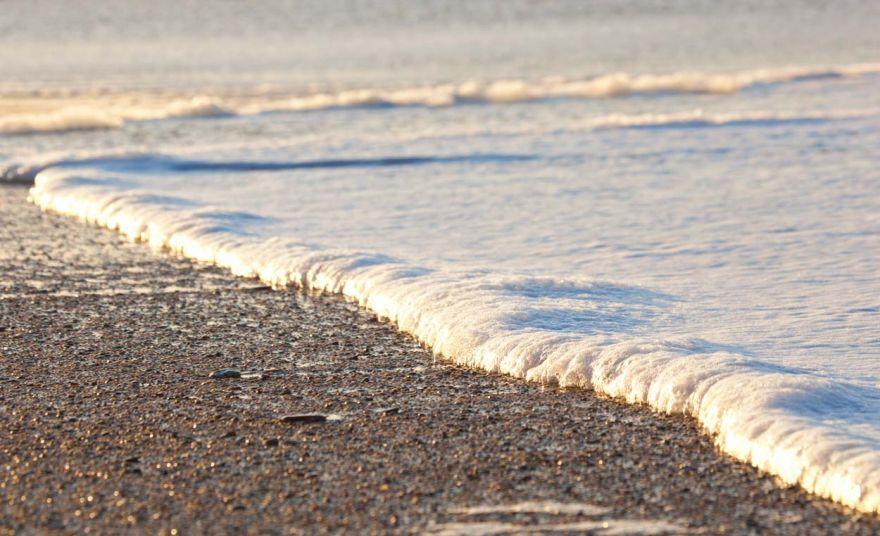 Evening beach foam