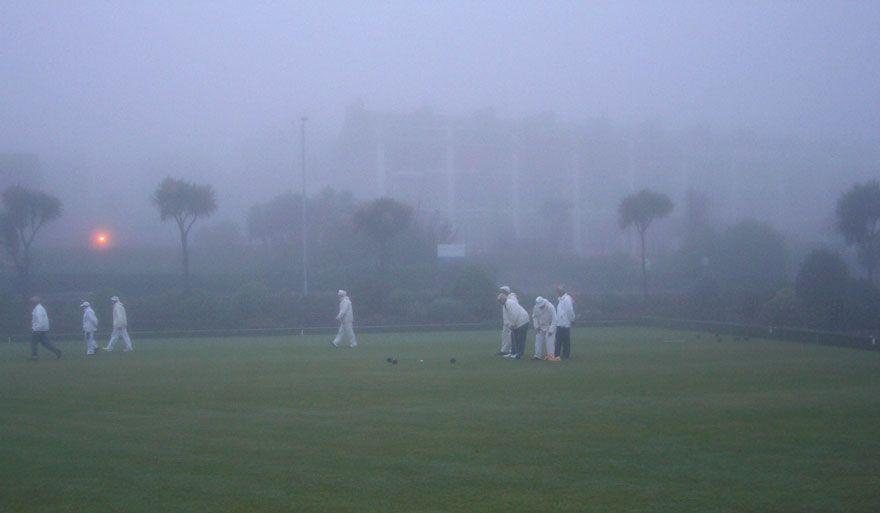 Bowling on Newlyn Green in the Fog