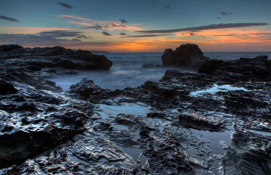 Sunset over Godrevy rocks