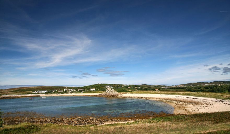 Blue sky over Great Par beach - Scilly