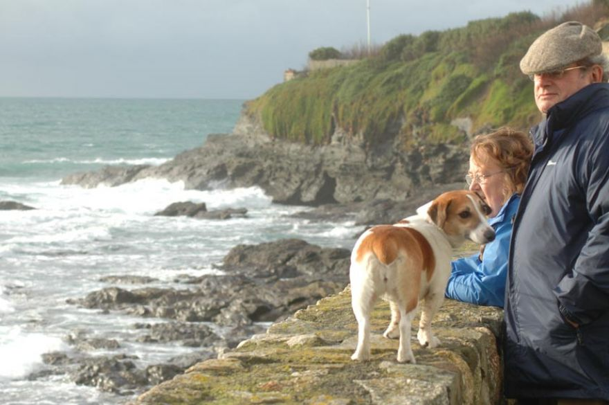 Couple with Jack Russel