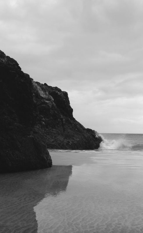 Kynance Cove Reflection - Black and White