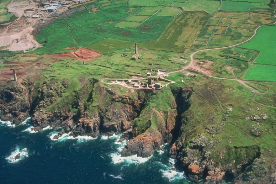 Levant mine and cliffs from the air