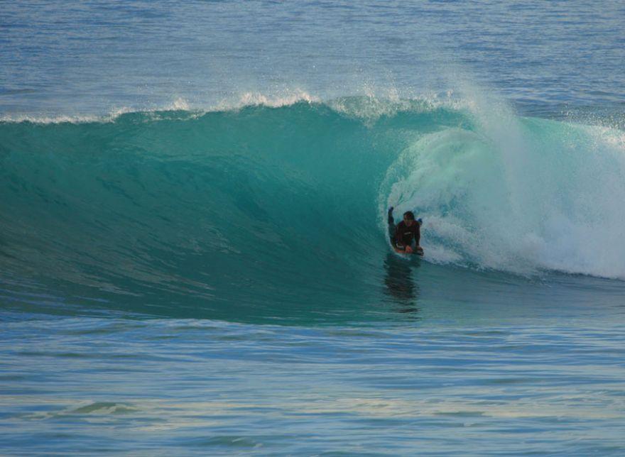 Bodyboarding at Porthleven