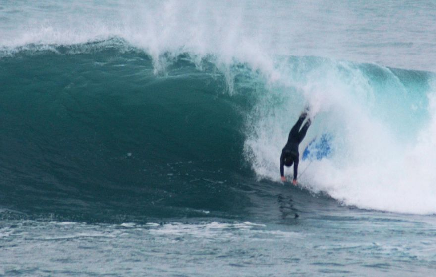 Head First Over the Falls at Porthleven