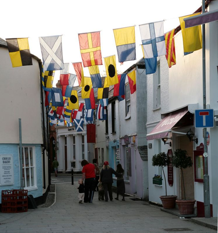 Padstow - Street Flags before Obby Oss