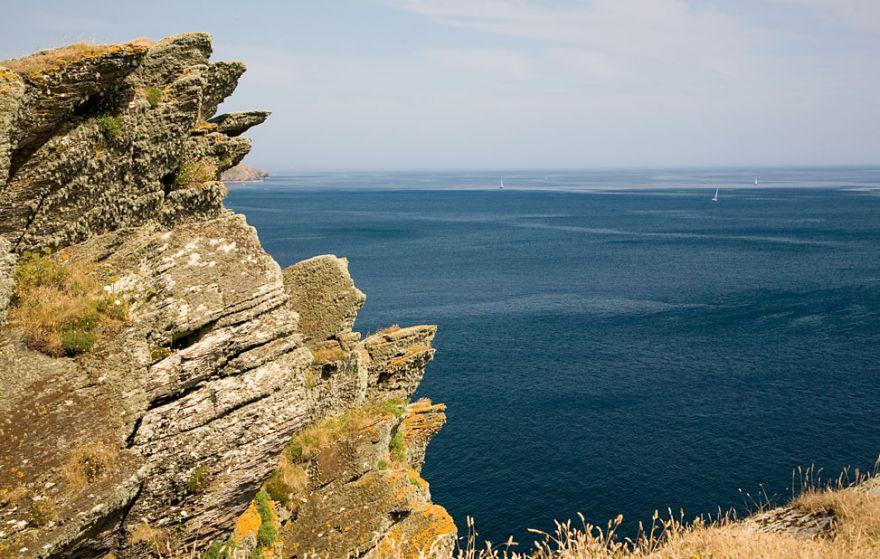 Jagged rocks and deep blue sea