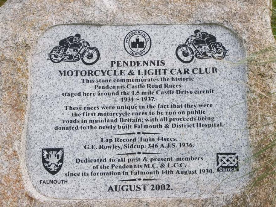 Pendennis Motorcycle and Light Car Club Plaque